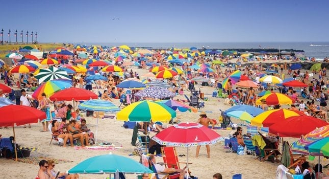 This crowded beach scene at the Jersey shore contradicted what most people thought regarding the 2013 summer season following Superstorm Sandy: That is was going to be a bust. (Photo courtesy of Cape May County)