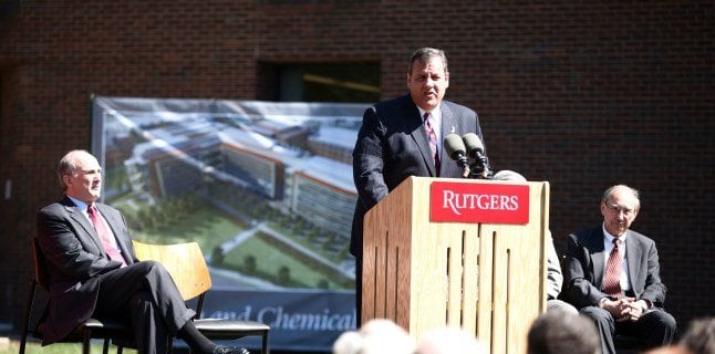 Governor Chris Christie speaks before breaking ground for the new Chemistry and Chemical Biology Building at Rutgers University.