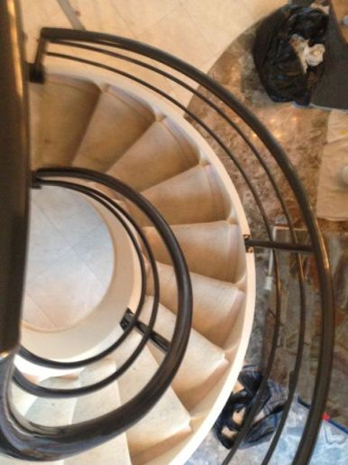 curved metal staircase