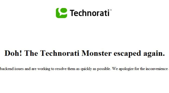 Technorati, deepening malfunction
