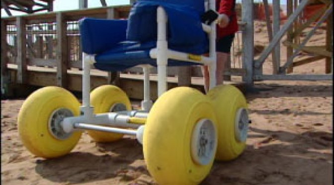 Beach wheelchair at PEI's Brackley Beach  image: CBC