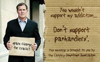 Anti-panhandling poster, Calgary Downtown Association
