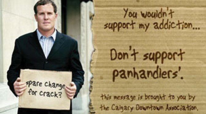 Anti-panhandling poster, Calgary Downtown Association