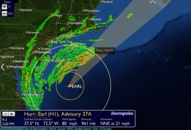 Earl Friday 3 pm 640x436 Earl 3 PM update   still tracking to sideswipe Cape Cod and hit Nova Scotia and PEI Saturday photo