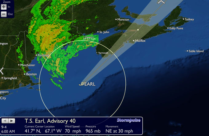 Earl 6 AM update – veering to the North East expected to hit Lockport, Truro and Eastern PEI