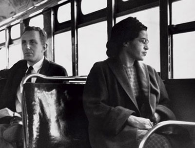 Civil rights activist Rosa Parks, who took a stand against racial segregation on buses in Alabama. Disabled people face an 'us and them' ethos. Photograph: Corbis