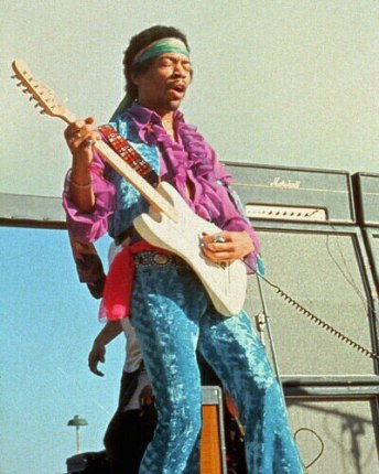 Jimi Hendrix and his stage stack of Marshall amps