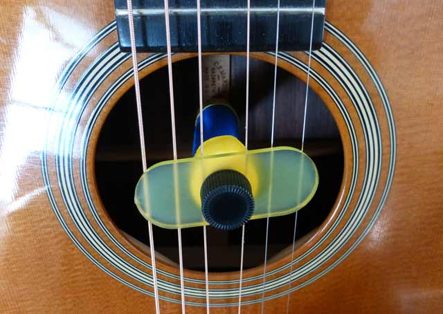 Oasis OH-1 guitar humidifier mounted in the sound hole (Photo Stephen Pate)
