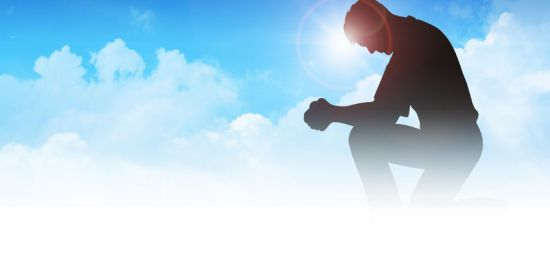 33699008 - silhouette illustration of a man praying among the clouds