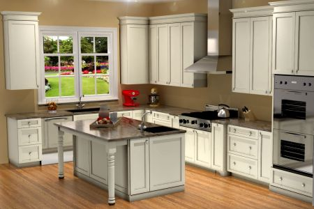 traditional white kitchen design / 3d rendering | nick
