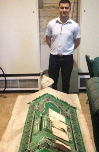 image of Mouhannad with Byzantine sarcophagus, al Haram al-Sharif Jerusalem