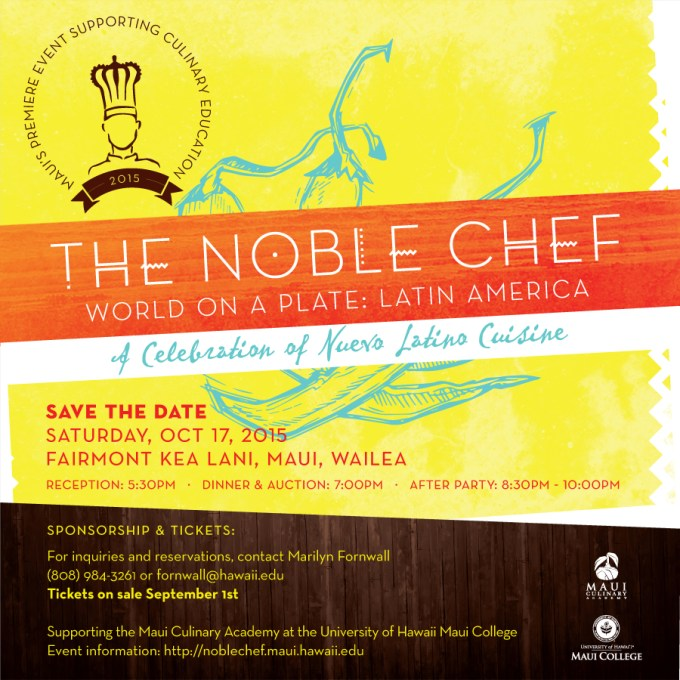 Save the Date: Noble Chef takes place October 17, 2015