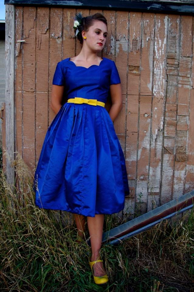 blue dress from a vintage pattern