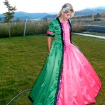 green princess dress with hoop