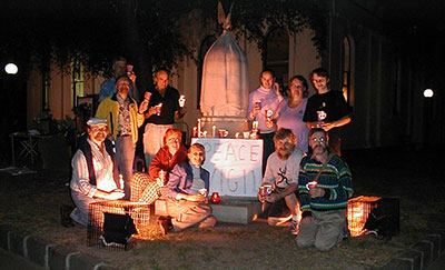 Brunswick Peace Vigil at Free Speech Memorial on Sydney Road 16 March 2003 on the eve of the Invasion of Iraq