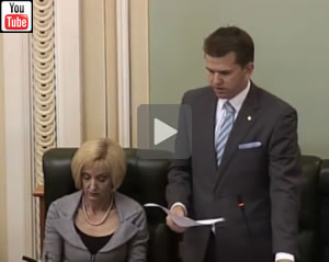 Queensland Attorney-General Jarrod Bleijie presents the 'Crime and Misconduct and Other Legislation Amendment Bill 2014'.