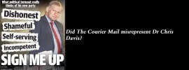 Did The @CourierMail misrepresent Dr Chris Davis?