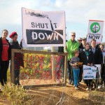 A protest at the edge of the Anglesea coal mine. Photo: John Englart