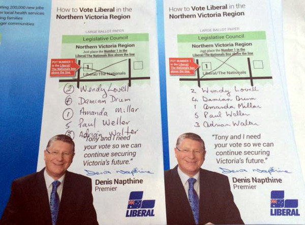 How-to-vote cards in Wangaratta altered by more than one Liberal Party volunteer.