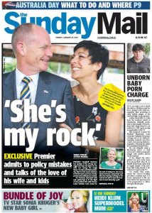 25/01/15 The Sunday Mail - 'She's My Rock' - Exclusive Premier admits to policy mistakes and talks of the love of his wife and kids