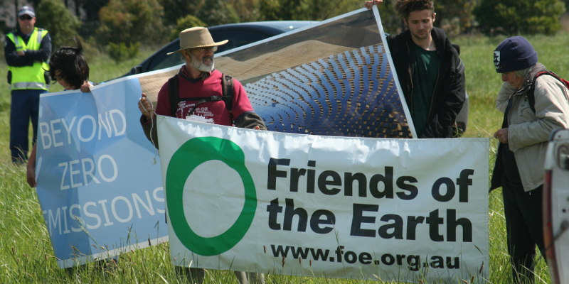 Friends of the Earth banner outside Hazelwood coal fired power station in 2010. Photo: John Englart