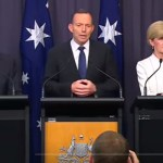 Greg Hunt, Tony Abbott and Julie Bishop announcing Australia's post 2020 climate targets.
