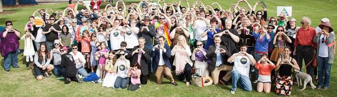 Marriage equality rally in Bowman, Queensland, July 2015 (Photo: Carole Margand)