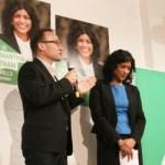 Adam Bandt MP introducing Samantha Ratnam. Photo: John Englart