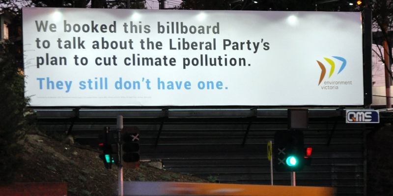 Environment Victoria billboard in Deakin removed