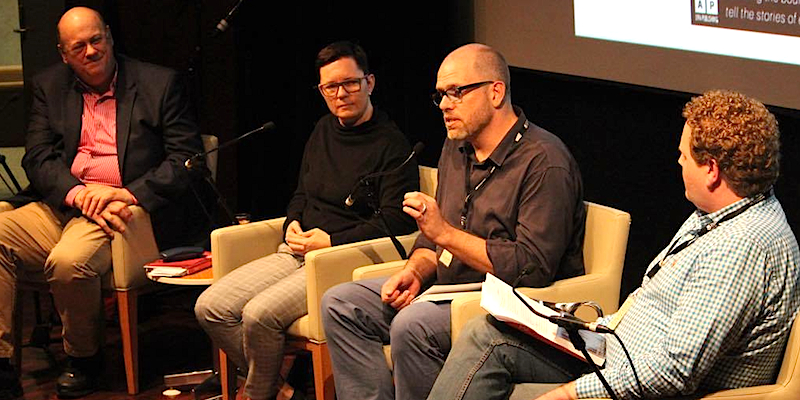 RIGHT TO BELONG: (L-R) David Hardy, Heather Faulkner, Michael Burge, Emile McPhee at Brisbane Writers Festival 2016 (Photo: Daniel Seed)