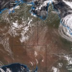 Cyclone Debbie off Queensland. Image by BOM from Himawari satellite