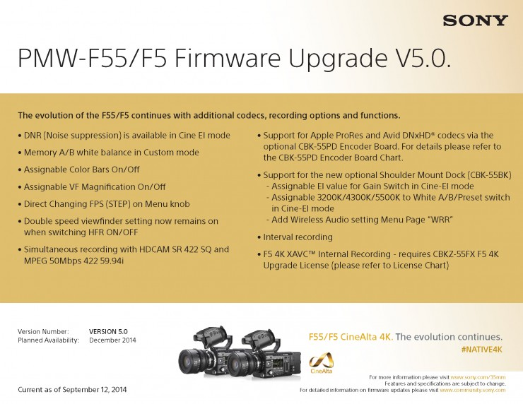 Sony F5 F55 V5.0 Firmware Upgrade