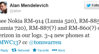 I see Nokia RM-914 (Lumia 520), RM-885 (Lumia 720), RM-887(?) and RM-860(?) on Verizon in our logs. 3-4 new phones...