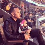 John Legend and baby Luna at the AllStar Game