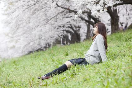桜の木の前で座る女子高生