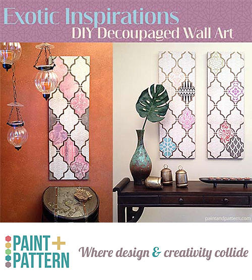Scrapbook Paper and Stenciled Wall Art