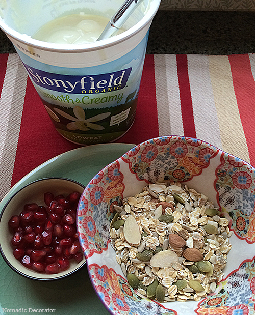 Homemade Muesli with Yogurt and Pomegranate Seeds