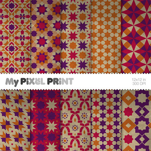 Moroccan Scrapbook Patterns from MyPixelPrint Etsy Shop