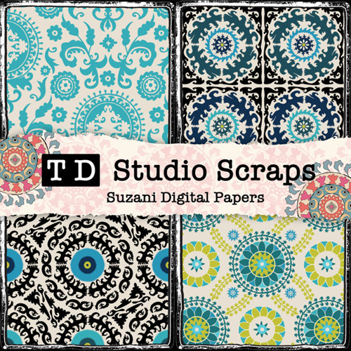 Suzani Scrapbook Paper from TaajDigital Etsy Shop