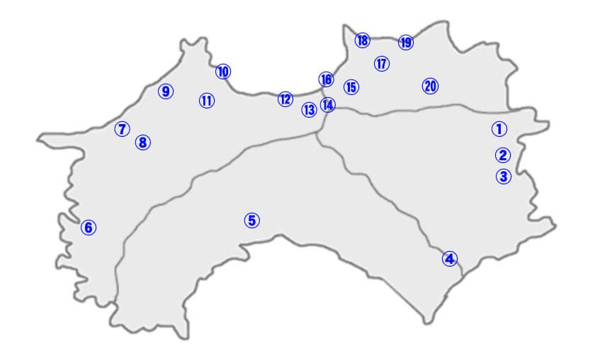 四国別格二十霊場 MAP