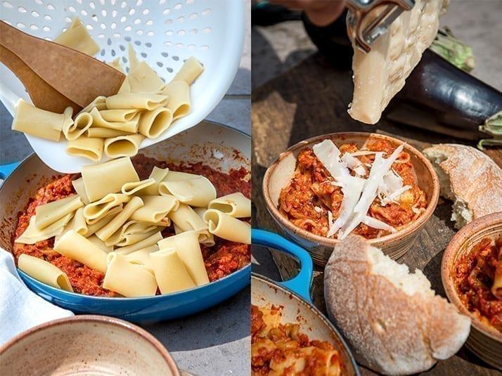 Eggplant parmigiana pasta recipe