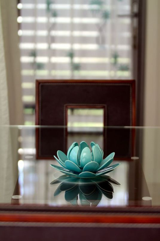 Lotus on Glass Dining Table
