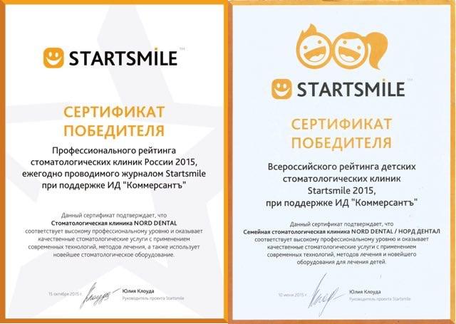 Два сертификата за 2015 год (взрослые и дети)