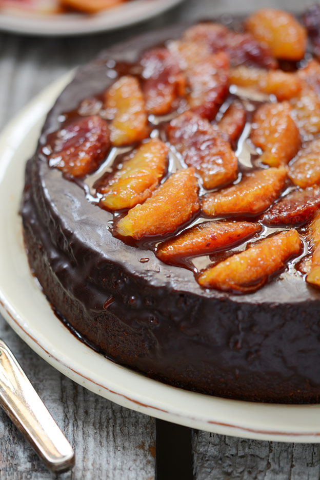Chocolate cake with blood oranges