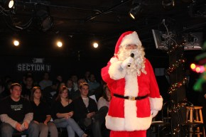 Globe Santa entertains the Friday night crowd.