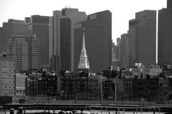 Old North Church and Skyline - 2010 by Christine Barton