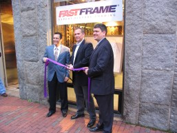 FastFrame Ribbon Cutting with Rep. Aaron Michlewitz (left), store owner Peter Crossley (center) and City Councilor John Connolly.