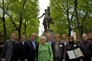 Four generations of the Dallin family standing in front of Cyrus Dallin's Paul Revere! Dallin's granddaughters are in the center of the group - Jean Dallin Doherty (green jacket) and Judith Dallin Cutts to her left.