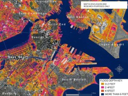 Boston Flooding with 2.5 Feet Sea Rise & 5 Foot Storm Surge (Globe Graphic - UMass Boston, Dr. Ellen M. Douglas)