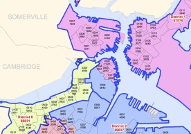 The new city district map takes Precinct 6 (Downtown/Wharf District) out of District 1 (North End, Charlestown, East Boston) and puts it with District 2, dominated by South Boston. (View full map in pdf).